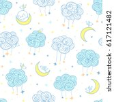 sweet dreams seamless pattern.... | Shutterstock .eps vector #617121482