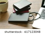 laptop computer and external... | Shutterstock . vector #617123048