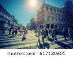 busy pedestrian crossing over...   Shutterstock . vector #617130605