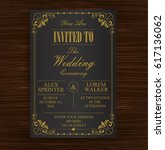 black gold wedding invitation... | Shutterstock .eps vector #617136062