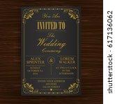black gold wedding invitation... | Shutterstock .eps vector #617136062