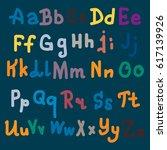 hand drawn alphabet. brush... | Shutterstock .eps vector #617139926