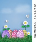 illustration of easter day with ... | Shutterstock .eps vector #617157542