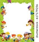 cartoon frame with children... | Shutterstock . vector #617179256