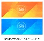 horisontal polygonal banners | Shutterstock .eps vector #617182415