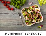 tuna salad with lettuce  eggs... | Shutterstock . vector #617187752