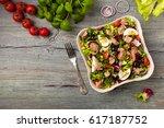 tuna salad with lettuce  eggs... | Shutterstock . vector #617187752