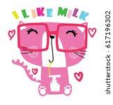 cute animal cartoon artwork... | Shutterstock .eps vector #617196302