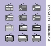vector vintage radio icons... | Shutterstock .eps vector #617197106