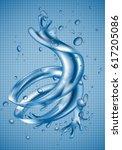3d water splash dynamic effect  ... | Shutterstock .eps vector #617205086