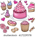 set of colored isolated vector...   Shutterstock .eps vector #617229578