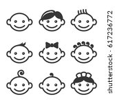 baby face icons set | Shutterstock .eps vector #617236772