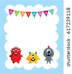 cute monster happy birthday... | Shutterstock .eps vector #617239118