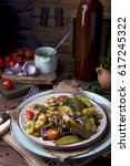 warm salad with baked potatoes  ...