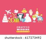 happy wedding greeting card   Shutterstock .eps vector #617273492