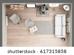 vintage loft living room with... | Shutterstock . vector #617315858