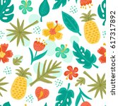 seamless pattern with hand... | Shutterstock .eps vector #617317892