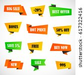 vector stickers  price tag ... | Shutterstock .eps vector #617322416