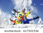 happy friends skiers and... | Shutterstock . vector #617331536