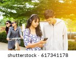 group of asian teenager walking ... | Shutterstock . vector #617341178