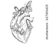 illustration heart with... | Shutterstock .eps vector #617341625