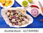 ceviche peruvian recipe with...   Shutterstock . vector #617344982