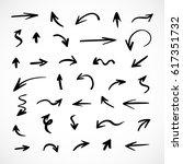 hand drawn arrows  vector set | Shutterstock .eps vector #617351732