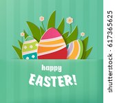 happy easter greeting card. a... | Shutterstock .eps vector #617365625