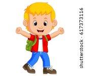cute boy go to school   Shutterstock .eps vector #617373116