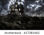 Haunted ghostly mansion on top of the hill on a full moon night with low clouds. 3D rendering