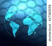 futuristic earth globe with... | Shutterstock .eps vector #617383058