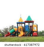 colorful children playground... | Shutterstock . vector #617387972