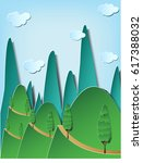paper art style of green hill... | Shutterstock .eps vector #617388032
