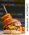 gourmet craft bacon... | Shutterstock . vector #617393672