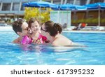 vacation concept   happy family ... | Shutterstock . vector #617395232
