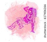 break dance dancer on... | Shutterstock .eps vector #617406266