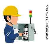 electrical auditor is auditing... | Shutterstock .eps vector #617415872