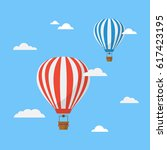 hot air balloons in the sky... | Shutterstock .eps vector #617423195