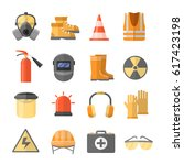 safety at work vector icons in... | Shutterstock .eps vector #617423198