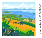 summer landscape with sea and... | Shutterstock .eps vector #617430548