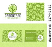 green tree logo set consisting... | Shutterstock .eps vector #617443832