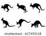 kangaroos silhouettes... | Shutterstock .eps vector #617455118
