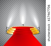 golden round podium with red... | Shutterstock .eps vector #617467706