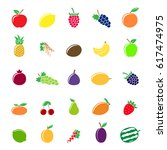 set of different fruit icons... | Shutterstock .eps vector #617474975