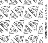 cartoon pizza pattern with hand ... | Shutterstock . vector #617476616