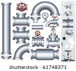 set of industrial pipeline... | Shutterstock .eps vector #61748371
