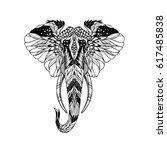 elephant. frame of animal made... | Shutterstock .eps vector #617485838