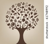 brown tree made of products and ... | Shutterstock .eps vector #61748992