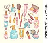 makeup cosmetics tools and... | Shutterstock .eps vector #617496386