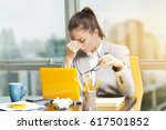 stressed business woman working ... | Shutterstock . vector #617501852